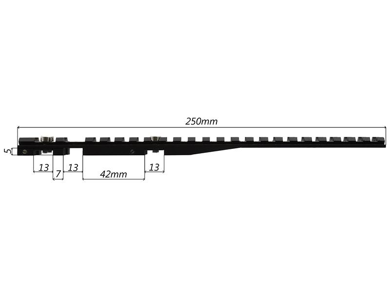 Планка вивера (кронштейн универсальный Weaver) UM-10 на вентилируемую планку шириной до 9мм
