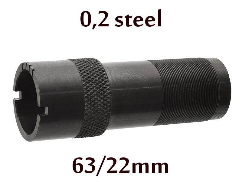 Дульная насадка (чок) 12 калибра на МР (ИЖ) 155, 153, 27 длина 63/22мм, сужение 0,2 steel - цилиндр с напором (IC) (777)