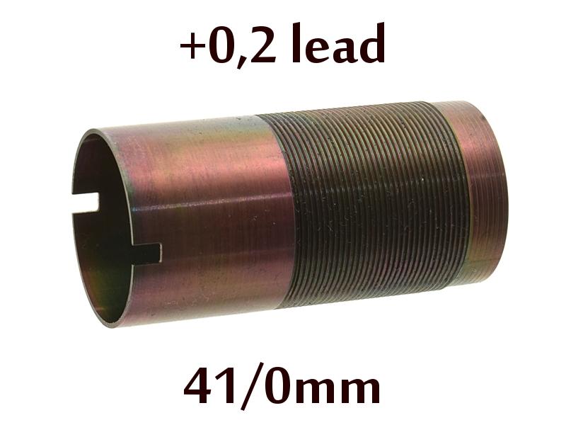 Дульная насадка (чок) 12 калибра из легированной стали на МР (ИЖ) 155, 153, 27 длина 41/0мм, сужение +0,2 lead - раструб (S)