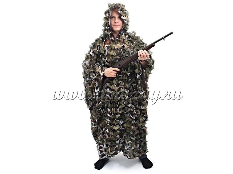 Пончо маскировочное (накидка) «Леший» ROSHUNTER (лес) сетка