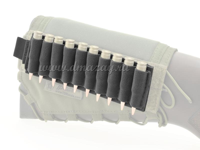 Съемный патронташ на 10 нарезных патронов с липучкой-Velcro, цвет Черный