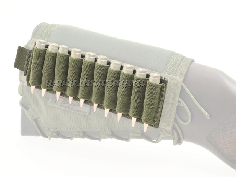 Съемный патронташ на 10 нарезных патронов с липучкой-Velcro, цвет Олива
