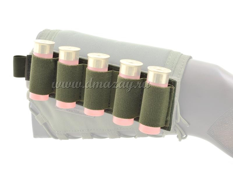 Съемный патронташ на 5 патронов 12 калибра с липучкой-Velcro, цвет Олива