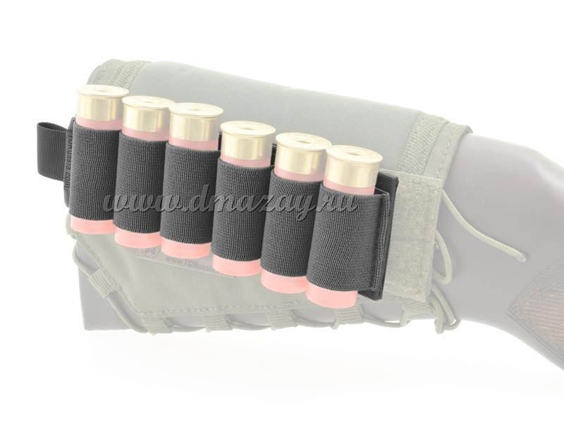 Съемный патронташ на 6 патронов 12 калибра с липучкой-Velcro, цвет Черный