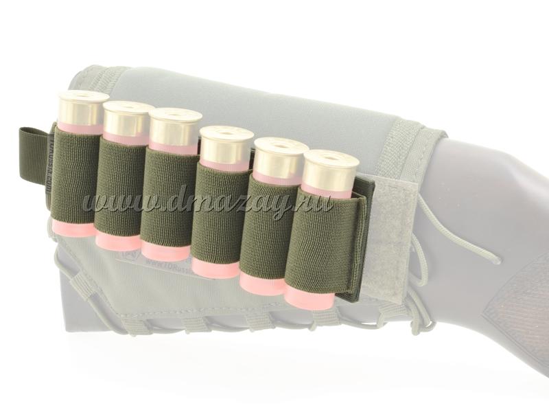 Съемный патронташ на 6 патронов 12 калибра с липучкой-Velcro, цвет Олива