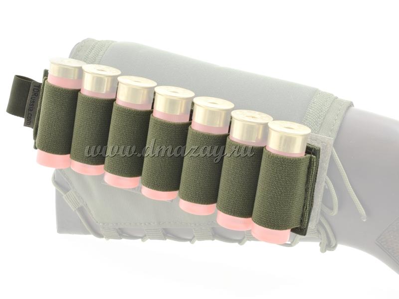 Съемный патронташ на 7 патронов 12 калибра с липучкой-Velcro, цвет Олива