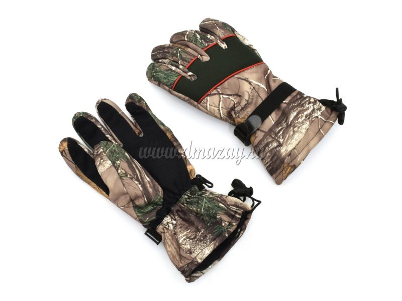 Перчатки охотничьи зимние камуфлированные Master Hunt с флисовой подкладкой