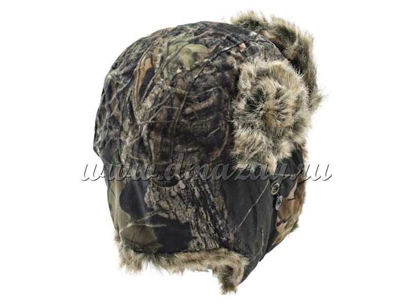 Шапка-ушанка камуфлированного цвета Mossy OAK Break-UP с искусственным мехом