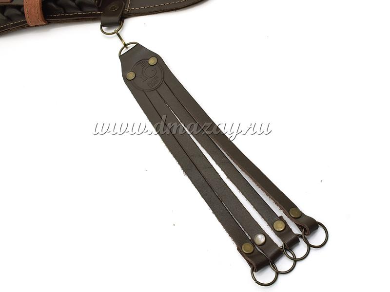 Патронташ закрытый поясной с шейной поддержкой и торокой на 24 патрона 12, 16 и 20 калибра из натуральной кожи, арт. 21