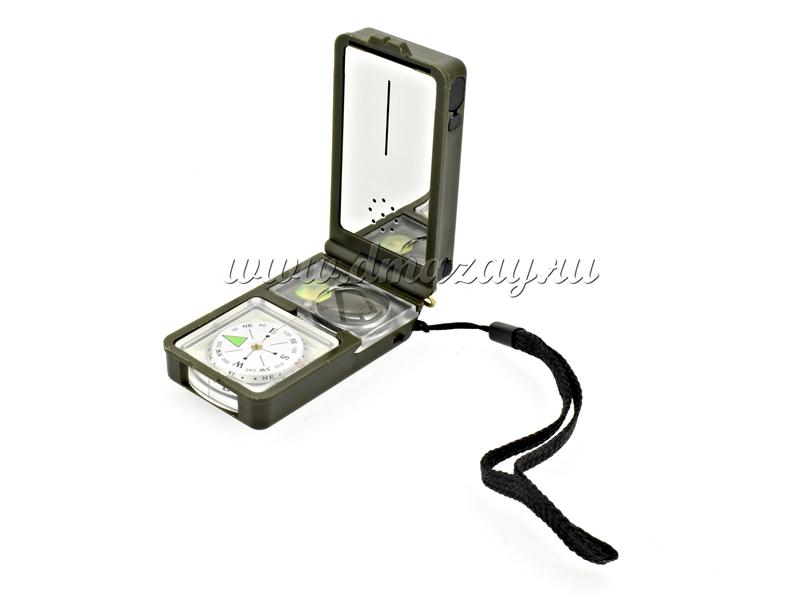 Мультифункциональный походный прибор 10 в 1: Компас, гидрометр, градусник, свисток, огниво, лупа, уровень, линейка, фонарь, зеркало