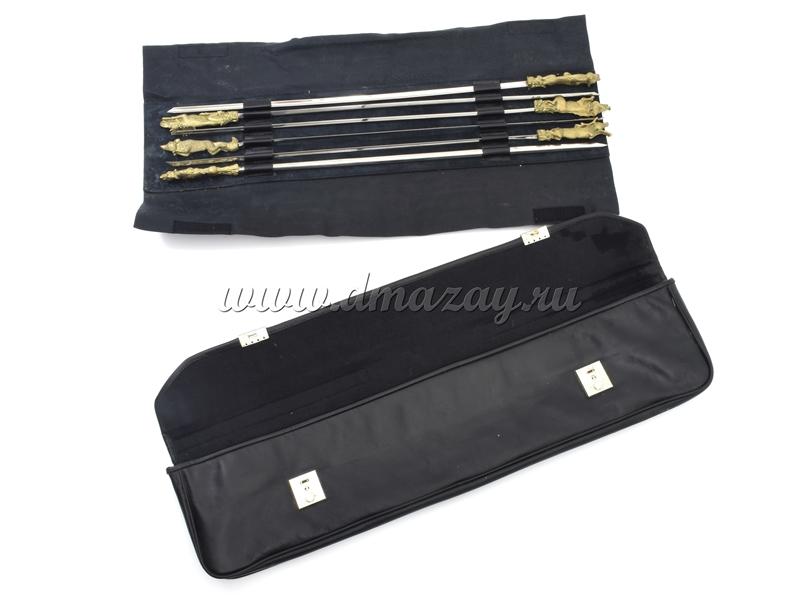 Набор подарочных шампуров (6шт) с бронзовыми ручками в виде животных