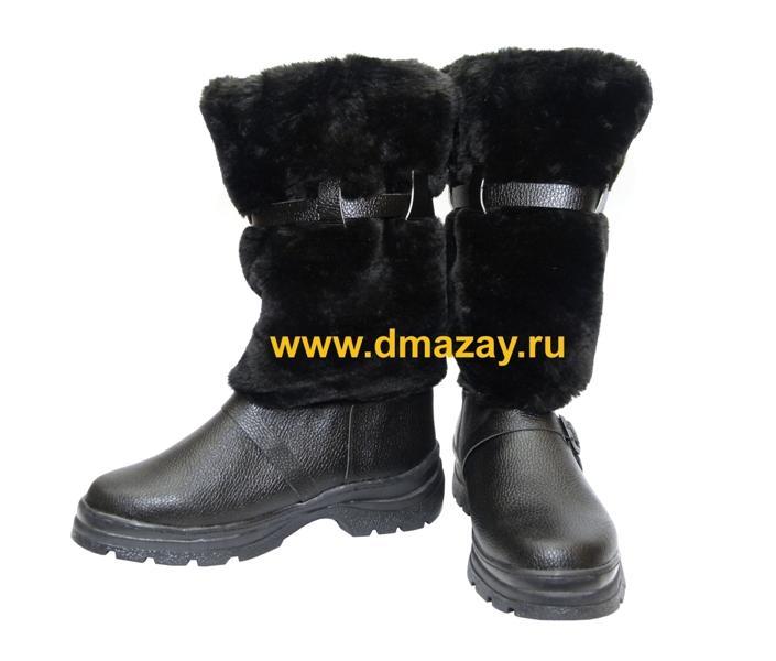 f709049deb5b Унты мужские высокие литая непромокаемая подошва ТЭП овчина черные размеры  41