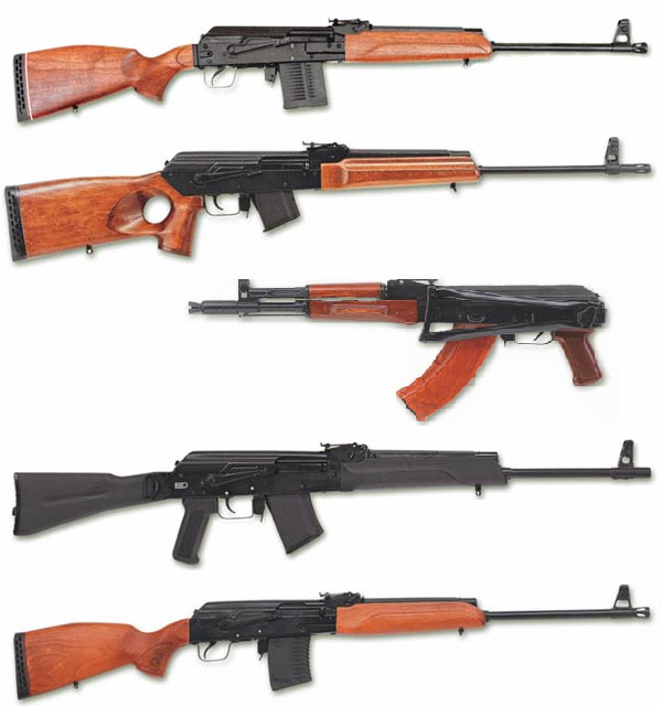 Сайга - охотничьи карабины на базе АК , выпускаемые разработчиками.