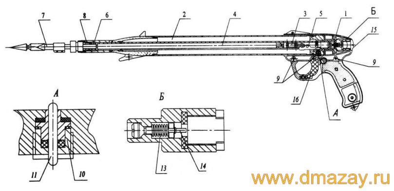 В состав ружья входят следующие узлы и детали: 1. Золотник.  2. Камера.  3. Поршень.