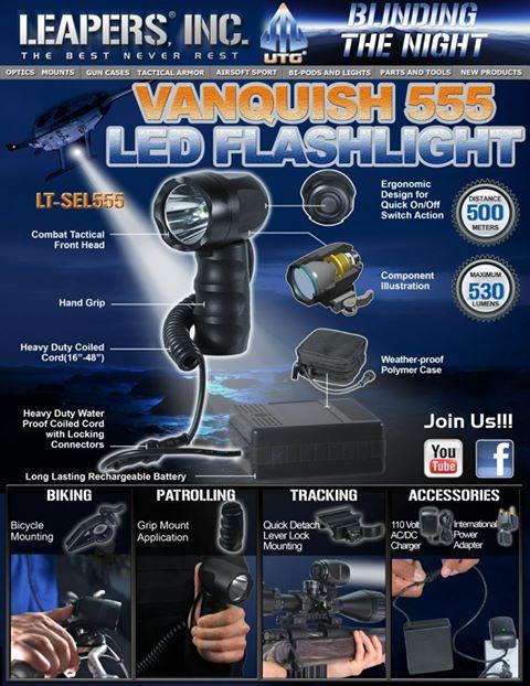 фонарь тактический ружейный ручной 500м липерс leapers lt sel 555