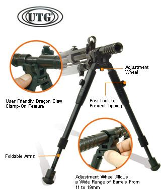 Сошки для оружия на ствол регулируемые по высоте (складные) Leapers (ЛИПЕРС), арт. TL-BP08S