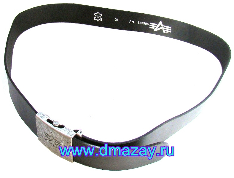 Ремень брючный (поясной) Alpha Leather belt black (черный), длина 125 см из натуральной кожи