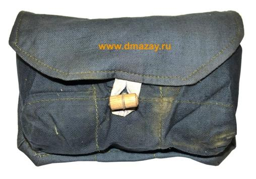Подсумок для ручных гранат трехсекционный стандартный хлопчатобумажный серый СССР.